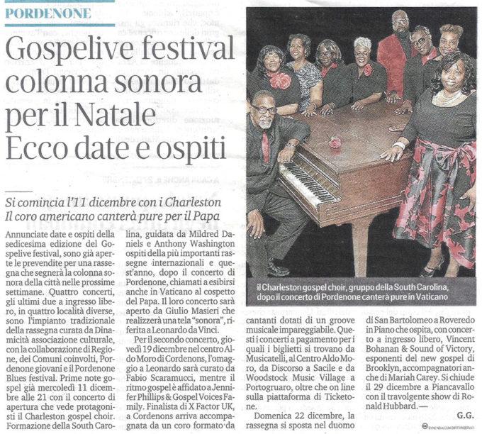 Articolo Messaggero - Gospel Live Festival - Pordenone